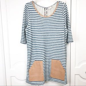 Anthropologie postage stamp large stripe tunic